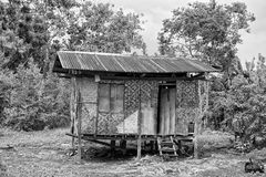 Wooden hovel, shanty, shack in Philippines in black and white Royalty Free Stock Photo