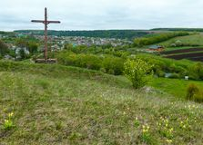Wooden cross near spring Rukomysh Cave temple, Ternopil Region, Stock Images