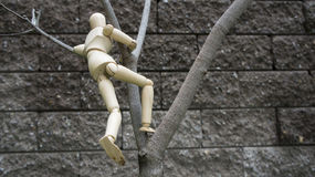 Wooden human figure climb tree garden stock photos