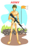 Wooden human mannequin Army. With gun standing on border. Vector illustration Stock Photo