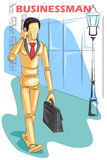 Wooden human mannequin Businessman. Talking on phone . Vector illustration Stock Photos