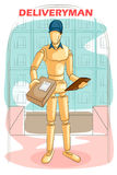 Wooden human mannequin Deliveryman Royalty Free Stock Images