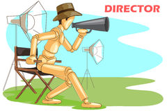 Wooden human mannequin Film Director. With megaphone. Vector illustration Stock Photography