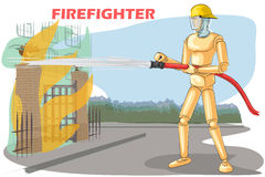 Wooden human mannequin Firefighter Royalty Free Stock Images