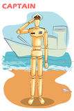 Wooden human mannequin Navy Captain Stock Images
