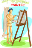 Wooden human mannequin Painter Royalty Free Stock Images
