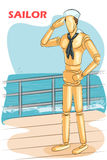 Wooden human mannequin Sailor Royalty Free Stock Photography