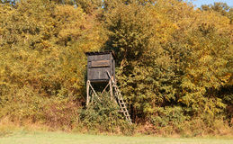 Wooden hunter's stand in the forest Royalty Free Stock Image