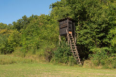 Wooden hunter's stand in the forest Royalty Free Stock Photography
