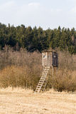 Wooden Hunters High Seat, hunting tower Royalty Free Stock Images