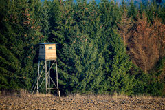 Wooden Hunters High Seat, hunting tower Stock Images