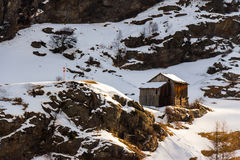 Wooden hut on the Austrian Alps in winter Royalty Free Stock Photography