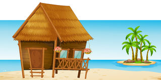 Wooden hut on the beach. Illustration Royalty Free Stock Photography