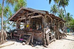 Wooden hut on the beach royalty free stock image