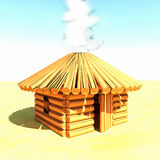 Wooden hut, 3d. Wooden hut with smoke out of rooftop, 3d render, square image Royalty Free Stock Image