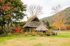 Wooden hut and the garden Stock Photos