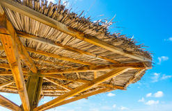 Wooden hut  in Maldives island with white sandy beach and sea . Stock Photo