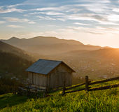 Wooden hut at the mountains Royalty Free Stock Photography