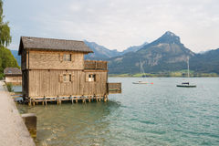 Wooden hut at the pier of Wolfgangsee Stock Photo