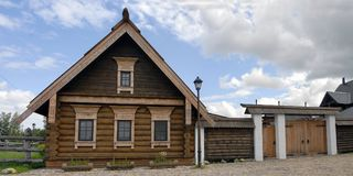 Wooden hut. In Plyos, Russia Stock Photo