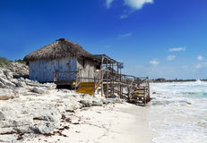 Wooden hut on the seashore. Cayo Largo's island, Cuba Royalty Free Stock Photography