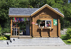 Wooden hut with souvenirs in Novosibirsk Zoo. Russia royalty free stock photo