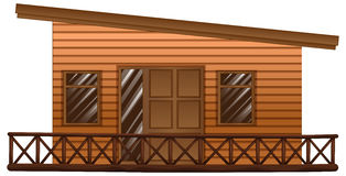 Wooden hut with terrace. Illustration Stock Images