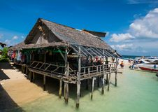 Wooden hut for tourist to visit at Khai nai Island,Thailand. PHANG NGA THAILAND OCTOBER 22:Unidentified wooden hut for tourist to visit at Khai nai Island on Royalty Free Stock Photography
