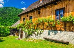 Wooden hut in traditional village, Eastern Europe Royalty Free Stock Photography