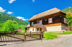 Wooden hut in traditional village, Slovakia Royalty Free Stock Images