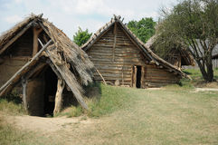 Wooden hut. Two primitive wooden hut in archaeological museum Stock Photography