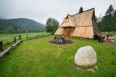 Wooden hut under Tatra mountains in Zakopane Stock Image