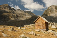 Wooden hut in Val d'Aran. Wooden hut in Aran Valley, Pyrenees, Spain Royalty Free Stock Images