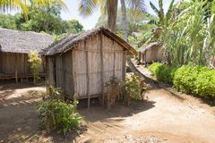 Wooden hut village in tropical Madagascar Stock Images