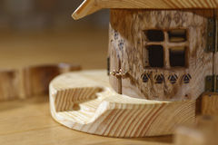 Wooden hut with window. Wooden hand made hut with window Royalty Free Stock Photo