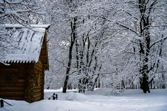 Wooden hut in winter forest royalty free stock photography