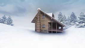 Wooden hut at winter landscape with trees Royalty Free Stock Photo