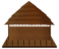 Wooden hut on wood raft. Illustration Royalty Free Stock Image