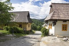 Wooden mountains huts in beautiful Vlkolinec traditional village in Slovakia. Wooden huts in beautiful Vlkolinec traditional village in Slovakia, folk houses Royalty Free Stock Images