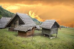 Traditional wooden huts stock image