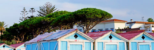 Wooden huts at Mondello beach of Palermo in Sicily Stock Image