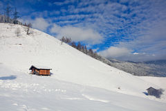 Wooden huts on mountain Royalty Free Stock Image