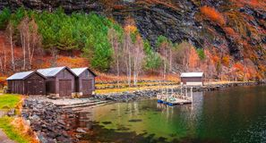 Wooden huts on the shore of a fiord, Flam Stock Photos