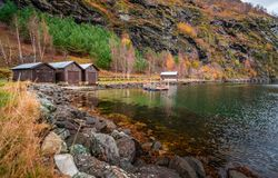 Wooden huts on the shore of a fiord, Flam Royalty Free Stock Photo