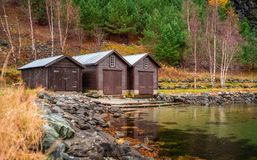 Wooden huts on the shore of a fiord, Flam Royalty Free Stock Images