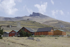 Wooden huts in Sierra Nevada, the highest peaks of inland Spain. Stock Images