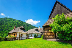 Wooden huts in Vlkolinec traditional village. Wooden huts in beautiful Vlkolinec traditional village in Slovakia, Eastern Europe Stock Image