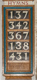 Wooden Hymn board Stock Photo