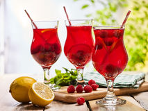 On wooden ice cold beverage glasses with red berries cocktail . Royalty Free Stock Image
