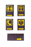 Wooden icon sign. Set of wooden information sign isolated on white-icon sign Stock Photos
